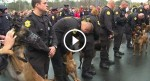 These officers line up with their dogs in the rain, but when the Sheriff speaks? TEARS!