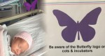 Have you seen a purple buterfly sticker by a newborn? Here's what it means…