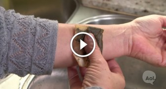 She presses a tea bag against her arm. The reason why is GENIUS!