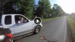 Idiot Driver Tries To Run Motorcyclist Off Road, Gets A Dose Of INSTANT KARMA!